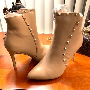 Catherine Malandrino Taupe Studded Ankle Booties